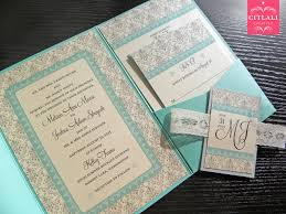 silver u0026 aqua lace damask pocket wedding invitations citlali