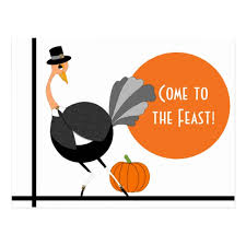 thanksgiving pilgrim ostrich save the date postcard zazzle