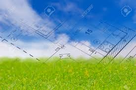 Blue Print Of A House Background With Blue Sky Green Land And Blueprint Of A House