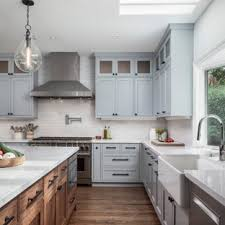 grey kitchen cabinets with white countertop 75 beautiful kitchen with gray cabinets and brick backsplash