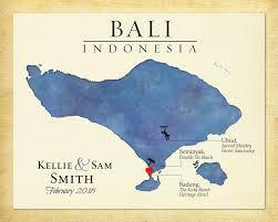 wedding gift indonesia map of bali indonesia bali destination wedding gift custom