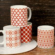 morroco style a set of four moroccan style mugs in red by bread u0026 jam