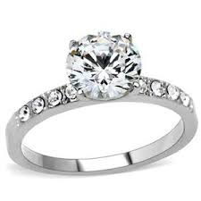 4 carat cubic zirconia engagement rings stainless steel 2 carat solitaire 4 prong setting pave