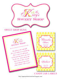 paper perfection kerry u0027s wedding candy buffet labels u0026 signs