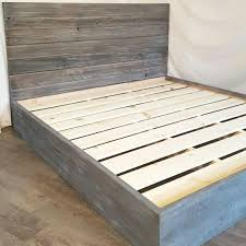Grey Bed Frame The Grey Weathered Reclaimed Wood Bed Frame