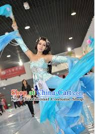 Water Halloween Costume Asia Fashion Chinese Fairy Water Sleeves Fan Dancing Costumes