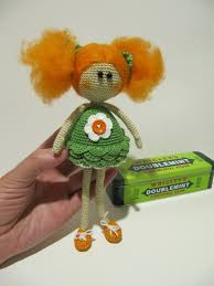 art doll redhair crochet redhead dolly ginger fairy green orange