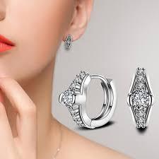 hoop huggie women wedding party jewelry shiny cubic zirconia hoop huggie