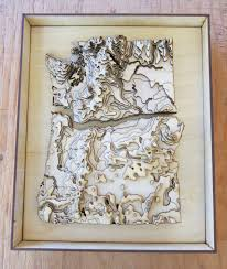Oregon Lakes Map by Framed 3 D Oregon Washington Map Laser Cut Wooden Map With
