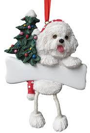 dangling leg bichon frise dog breed christmas ornament doggy