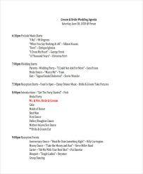 Wedding Party Program Template Wedding Agenda Sample Wedding Reception Program Sample Weddings