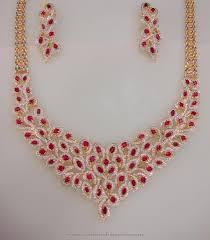 stone necklace set designs images Designer gold cz stone necklace set gold diamond gold jpg
