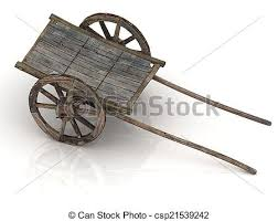 wooden wagon cart with wooden wheels isolated on white