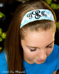 headbands that don t slip monogram blue chevron non slip headband by crazyformonograms