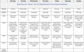Beast Meal Plan Spreadsheet Beast T25 Meal Plan Pinteres