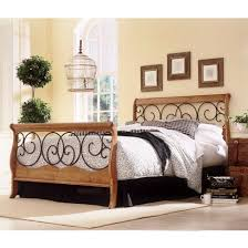 wood and iron bed autumn brown honey oak finish
