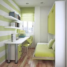 Simple White Desk Green Floating Bed Added By Double Green Acrylic Chairs On The