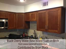 general finishes black cherry waterbase wood stain on birch