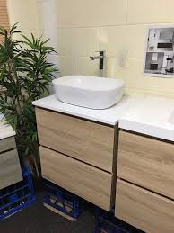 bogetta 600mm white oak timber wood grain bathroom vanity with