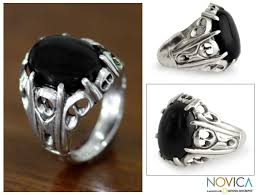 silver rings stones images Men 39 s onyx ring 39 music of the night 39 the earth site gif