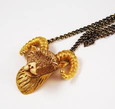 necklace with vintage images Razza zodiac aries ram necklace vintage estatebeads jpg