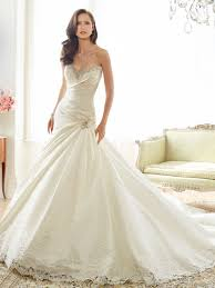 taffeta a line wedding dress with chapel train