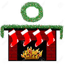 a cozy fireplace decorated for christmas with stockings stock