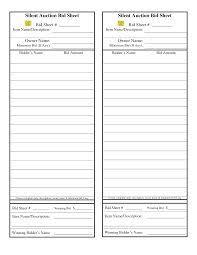 silent auction bid sheet template silent auction bid sheet