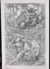 swamp thing u0026 batman pencils signed print by john totleben in