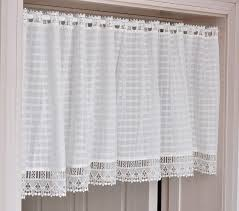 Lace Cafe Curtains White Check Plaid Lace Cafe Curtain 55 Wide Or 78 Wide Choose