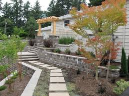 modern concrete block retaining wall with minimalist design on