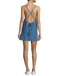 3x1 twist sleeveless open back denim dress blue
