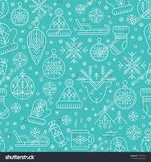 blue color palette winter seamless pattern outlined seasonal signs stock vector