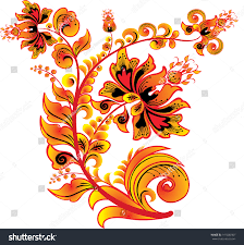 khokhloma russian ornament isolated on white stock vector