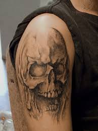 horror skull on shoulder