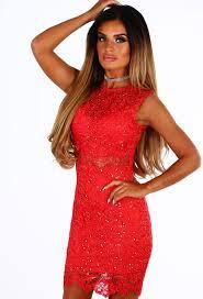 dark horizon red lace sequin mini dress pink boutique