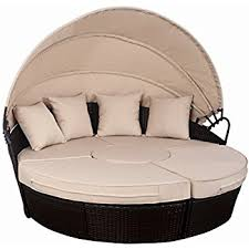 Daybed With Canopy Amazon Com Modway Quest Circular Outdoor Wicker Rattan Patio