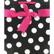 black and white polka dot ribbon 9 1 2 x 11 1 2 black white polka dot gift bag with pink ribbon