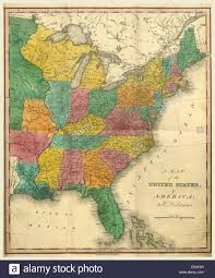 Images Of A Map Of The United States by Map Of The United States 19th Century Engraving Us Stock Photo