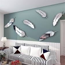 Mirror Wall In Bathroom Removable Diy Silver Feather 3d Mirror Wall Stickers Decal