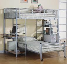 dresser with desk attached bedroom modern silver metal loft bed with desk also bookshelves