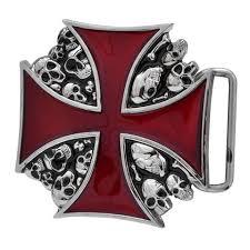 unisex celtic iron cross maltese intricate design belt buckle