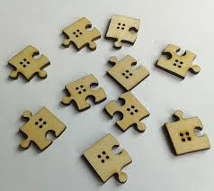 jigsaw wood jigsaw puzzle pieces wood wooden craft buttons 4 holes