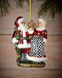 mackenzie childs mr and mrs claus ornament