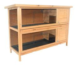 Pet Hutch Pawhut 2 Story Stacked Wooden Outdoor Animal Bunny Rabbit Hutch