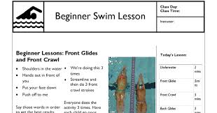 lesson plan template swimming swim lesson plan beginner lesson template swimming lessons ideas