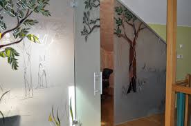 frosted glass room wall divider with door and silver metal f