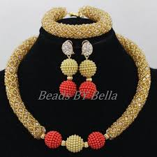 gold crystal beaded necklace images 2016latest gold crystal beads african jewellery set women jpg