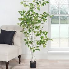 three posts birch artificial tree in planter reviews wayfair