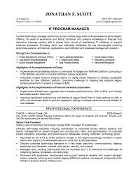 It Manager Sample Resume by Technical Program Manager Resume Resume For Your Job Application